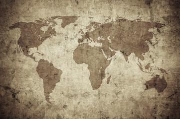 Poster Vieux mur texturé sale grunge map of the world