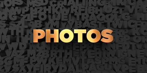 Photos - Gold text on black background - 3D rendered royalty free stock picture. This image can be used for an online website banner ad or a print postcard.