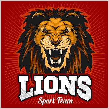 Lions - sport team logo template. Lion head on the shield. T-shirt graphic, badge, emblem, sticker.