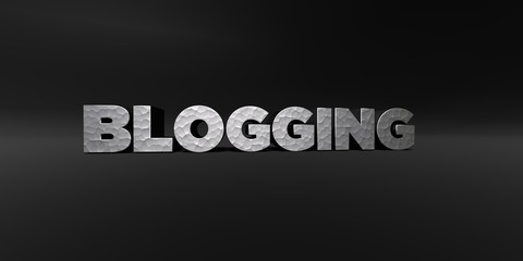 BLOGGING - hammered metal finish text on black studio - 3D rendered royalty free stock photo. This image can be used for an online website banner ad or a print postcard.