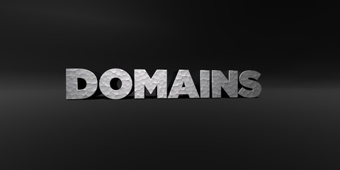 DOMAINS - hammered metal finish text on black studio - 3D rendered royalty free stock photo. This image can be used for an online website banner ad or a print postcard.