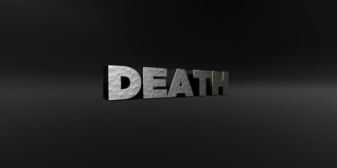 DEATH - hammered metal finish text on black studio - 3D rendered royalty free stock photo. This image can be used for an online website banner ad or a print postcard.