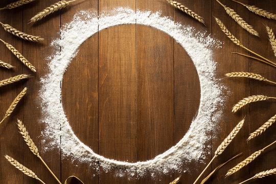 flour powder on wood