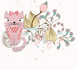 illustration with cat sitting on the branches. Fantasy flowers