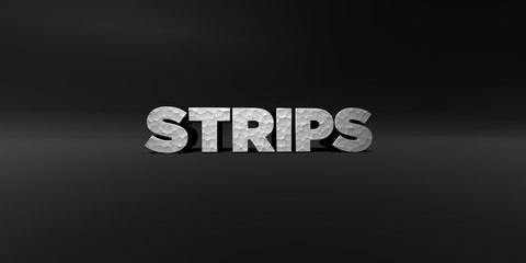 STRIPS - hammered metal finish text on black studio - 3D rendered royalty free stock photo. This image can be used for an online website banner ad or a print postcard.