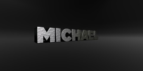 MICHAEL - hammered metal finish text on black studio - 3D rendered royalty free stock photo. This image can be used for an online website banner ad or a print postcard.