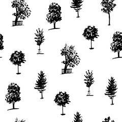 background set of seamless pattern of trees silhouettes isolate on a white background hand drawn vector illustration