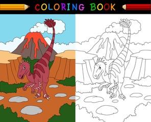 Cartoon velociraptor coloring book
