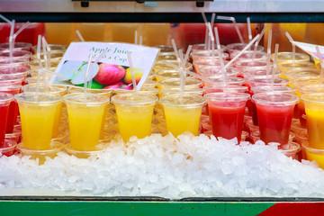 Fresh juice on display at Borough Market, London