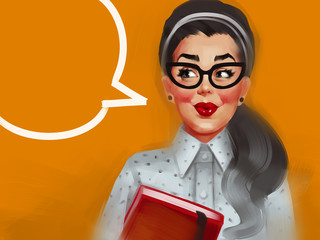 Pin up woman with glasses and red cheeks in a dotted blouse. Raster vintage illustration isolated on an orange background with a speech bubble.