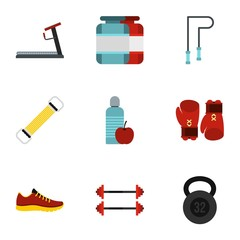 Sport icons set. Flat illustration of 9 sport vector icons for web