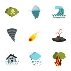 Natural emergency icons set. Flat illustration of 9 natural emergency vector icons for web