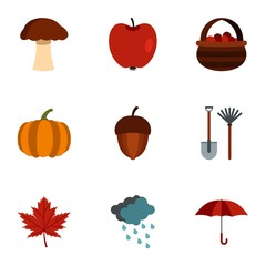 Autumn icons set. Flat illustration of 9 autumn vector icons for web