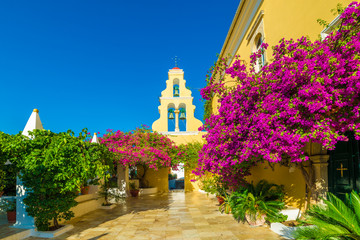 Wall Mural - Theotokos Monastery, Paleokastritsa town, Corfu island, Greece