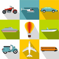 Transport icons set. Flat illustration of 9 transport vector icons for web