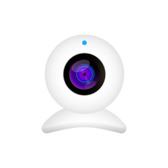 Realistic web camera vector illustration on white background