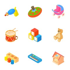 Kind of toys icons set. Cartoon illustration of 9 kind of toys vector icons for web