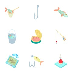 Fishing icons set. Cartoon illustration of 9 fishing vector icons for web