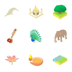 Attractions of India icons set. Cartoon illustration of 9 attractions of India vector icons for web