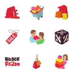 Large discounts icons set. Cartoon illustration of 9 large discounts vector icons for web