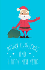 Santa Claus with a bag of gifts waving.New Year illustration. New Year character. Vector illustrations