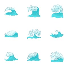 Ocean icons set. Cartoon illustration of 9 ocean vector icons for web
