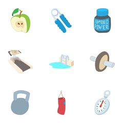 Active sports icons set. Cartoon illustration of 9 active sports vector icons for web