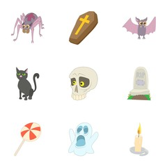 Terrible holiday icons set. Cartoon illustration of 9 terrible holiday vector icons for web