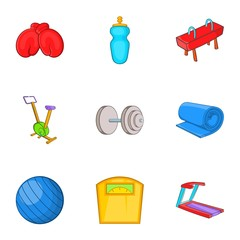 Exercise in gym icons set. Cartoon illustration of 9 exercise in gym vector icons for web