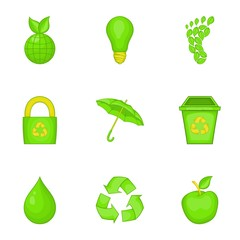 Ecology icons set. Cartoon illustration of 9 ecology vector icons for web