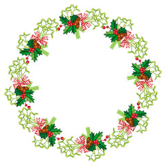 Round frame in shape of wreath with mistletoe. Holly berry, pine cones, bows.
