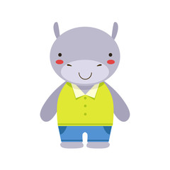 Smiling Hippo In Yellow Top And Blue Pants Cute Toy Baby Animal Dressed As Little Boy