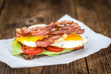 Bacon and Egg Sandwich (selective focus)