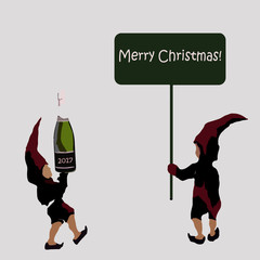 an invitation to a Christmas party. the elves of Santa Claus with champagne. Merry Christmas sign