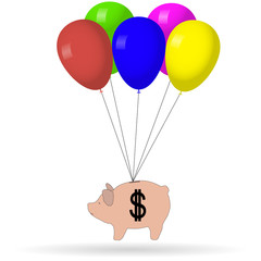 Pig money balloons vector