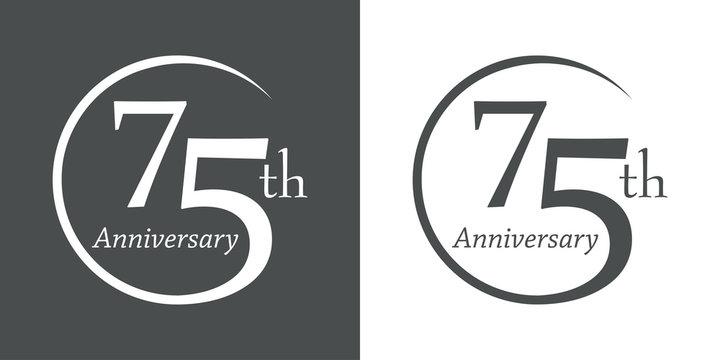 Icono plano 75th Anniversary en gris y blanco