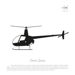 Black helicopter silhouette on a white background