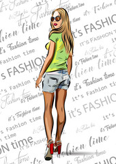 beautiful blondie woman with sunglasses - fashion vector design.