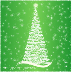 Abstract  background green with Christmas tree and snowflakes, vector.