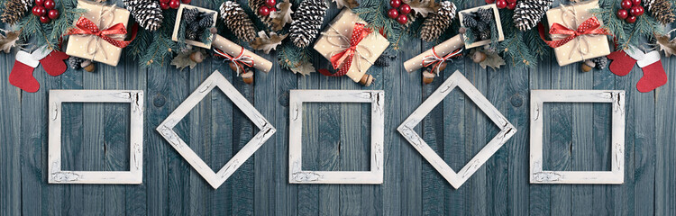 Christmas banner with photo frames, spruce, gift box, Santa Clau