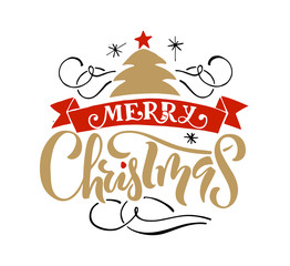 Lettering 'Merry Christmas' for Christmas/New Year greeting card