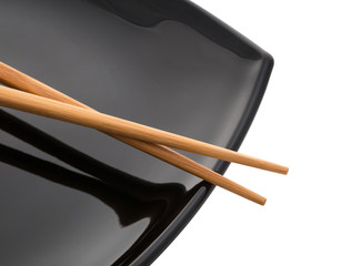empty sushi set, plateaus and chopsticks isolated on white background