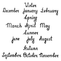 Hand-written names of seasons and months. Vector illustration