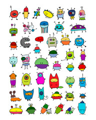 Funny aliens collection, sketch for your design