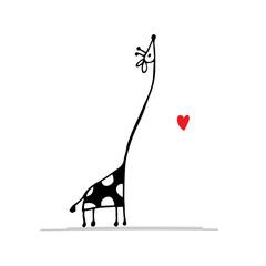 Giraffe in love, funny sketch for your design