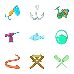 Fishing sport icons set. Cartoon illustration of 9 fishing sport vector icons for web