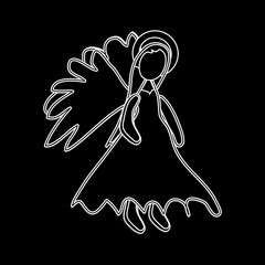 Christmas Angel White Outline Icon Symbol Design. Vector Christmas illustration isolated on black background. Angel silhouette.