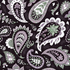 Seamless Abstract Floral Pattern with Paisley.