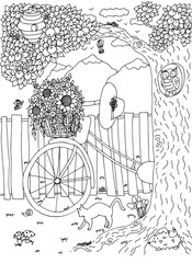 Bicycle on backyard. Vector image in black and white.