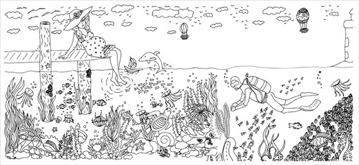 Diver in ocean with many fishes. Pregnant woman. Vector image in black and white